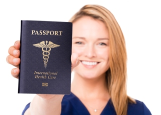 Young Woman Doctor Nurse with Passport Isolated on White Background