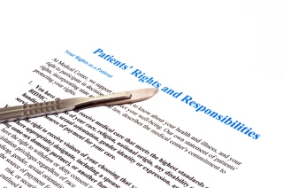 isolated patient rights and responsibilities declaration document on white. Please note that I generated this document and actually content of this judgment is common for every hospital.