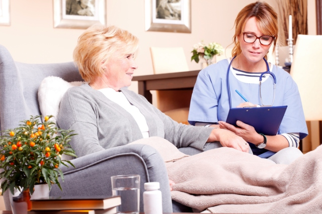 Portrait of home caregiver holding in her hand a clipboard and consulting with senior woman while sitting at living room.
