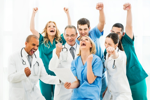 Large group of ecstatic doctors.